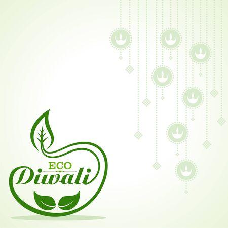 Illustration of Greeting for Eco or Green Diwali Celebration stock vector