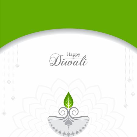 illustration of Greeting for celebrate green diwali concept