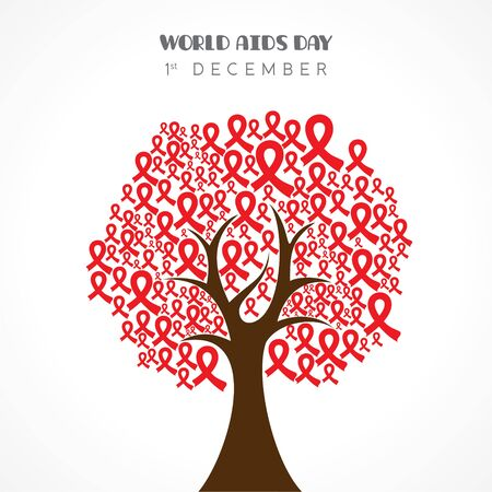 Aids Awareness greeting for World Aids Day - 1 December Vector Illustration