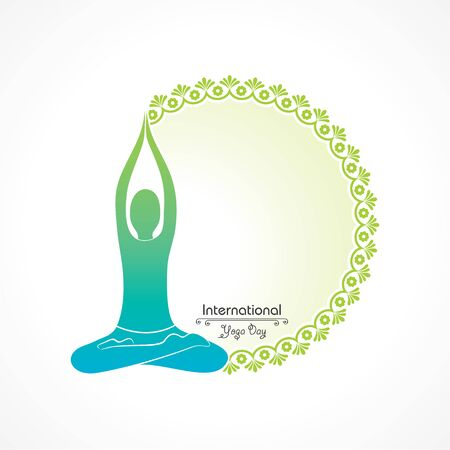 Vector Illustration of International Yoga Day - 21 June , different poses