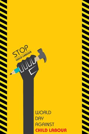 Vector Illustration of World Day Against Child Labour which is held on 12 June Illustration