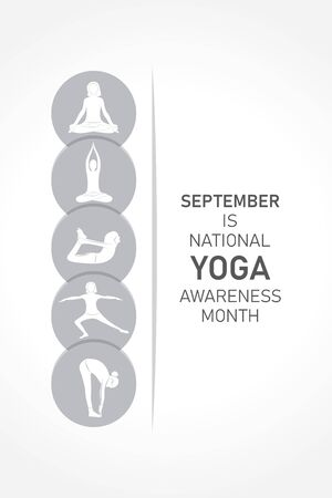 Vector illustration of National Yoga Awareness month observed in September every year