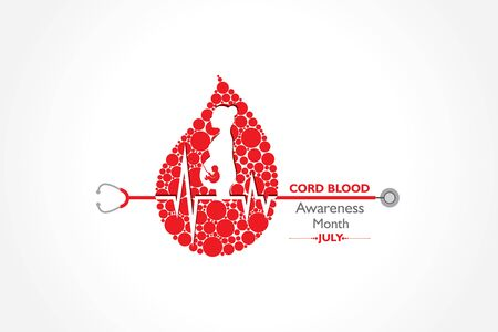 Vector illustration for Cord Blood awareness month observed in July Every Year Vectores