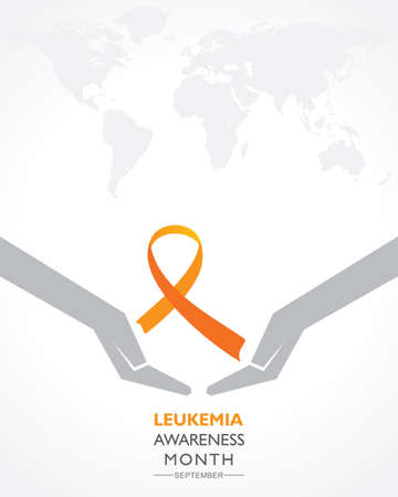 Vector Illustration of Leukemia Awareness month with orange colored ribbon, observed in September Illustration