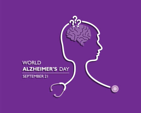 Vector illustration of World Alzheimers Day observed on September 21 Ilustração