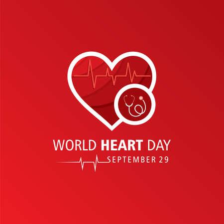 Vector Illustration of World Heart Day observed on 29 September Vector Illustration
