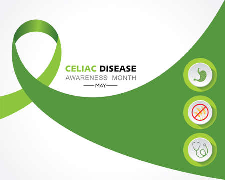 Vector illustration of Celiac Disease Awareness Month in May. It is an immune reaction to eating gluten, a protein found in wheat, barley.