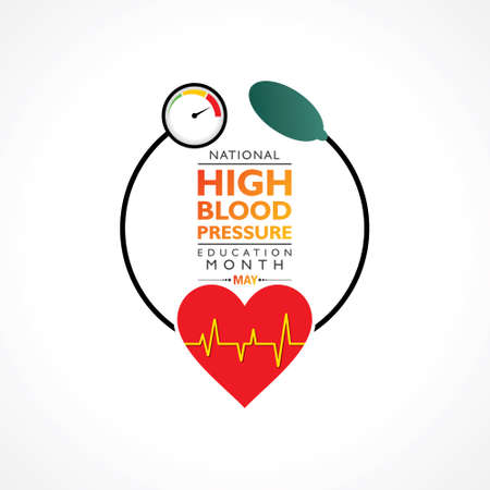 Vector Illustration of National High Blood pressure (HBP) Education Month is observed in May. It is also known as Hypertension. Vector Illustratie