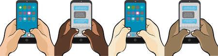 Mobiele telefoon sms'en met duimen Stock Illustratie
