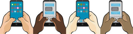 Mobiele telefoon sms'en met duimen Stockfoto - 93692830