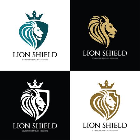 Plantilla de diseño de logotipo de escudo de León. Logotipo de la cabeza del león Ilustración vectorial Logos