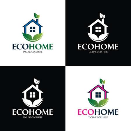 Eco home logo design template. Vector illustration 矢量图像