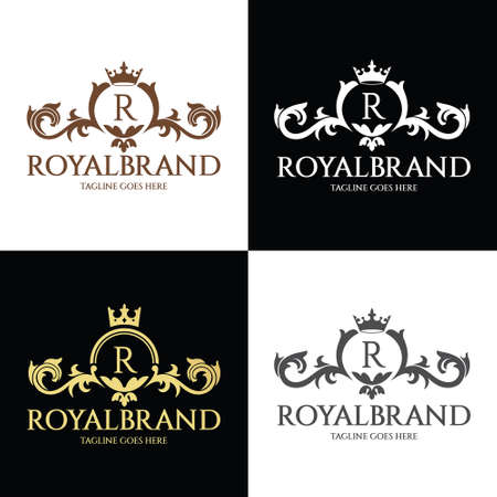 Royal Brand logo design template. Luxury Fashion icon. Vector illustration