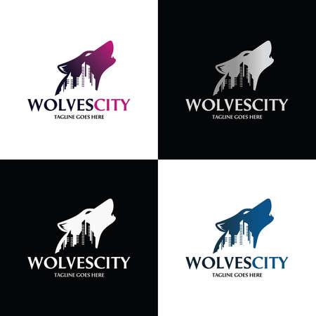 Wolf city logo. Wolf night icon. Vector illustration 矢量图像