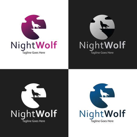 Night Wolf logo design template. Vector illustration 矢量图像