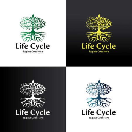Life Cycle logo design template. Life tree icon. Vector illustration