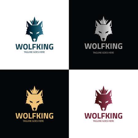 Wolf King logo design template. Vector illustration 矢量图像