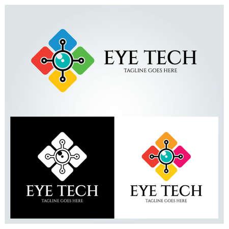 Eye tech logo design template. Vector illustration