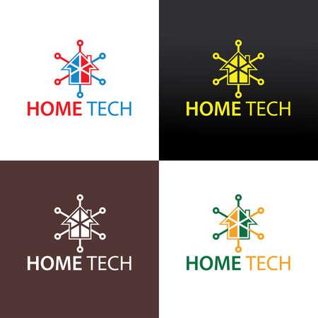 Home tech logo design template. Vector illustration