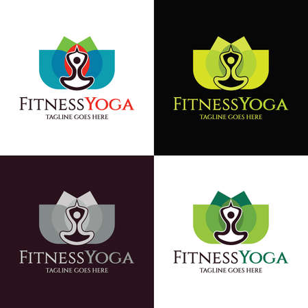 Fitness Yoga logo design template. Vector illustration