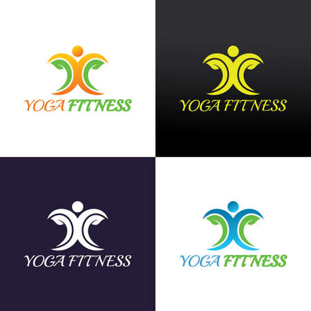 Yoga fitness logo design template. Vector illustration