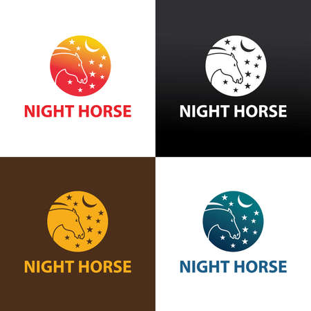 Night horse logo design template. Vector illustration