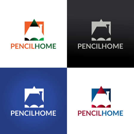 Pencil home design template. Vector illustration 向量圖像