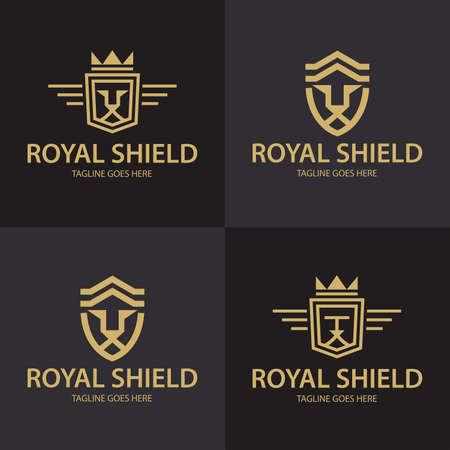 Lion shield . Royal Lion icon. Vector illustration Vettoriali