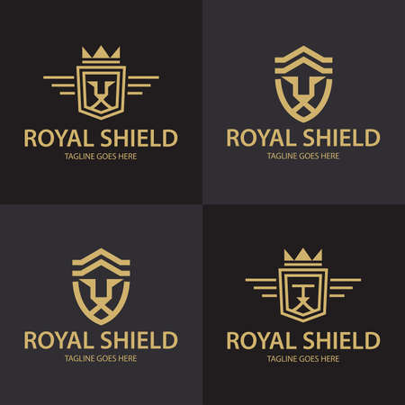 Lion shield . Royal Lion icon. Vector illustration 向量圖像