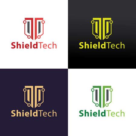 Shield tech design template. Vector illustration