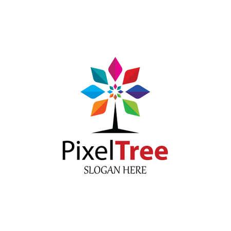 Pixel tree design template. Vector illustration