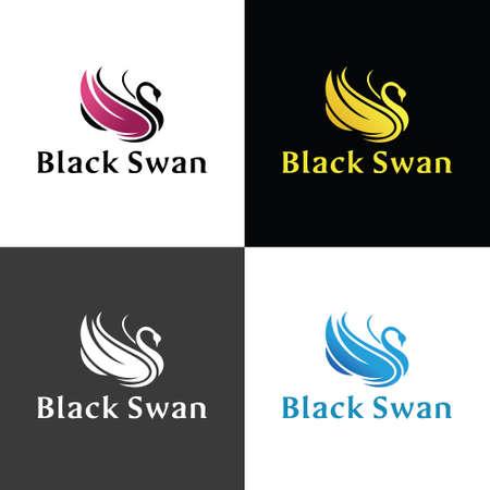 Black Swan design template. Vector illustration