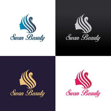 Swan beauty logo design template. Vector illustration 矢量图像