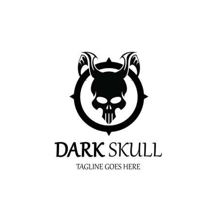 Dark skull logo design template. Vector illustration