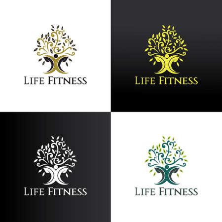 Life fitness logo design template. vector illustration 矢量图像