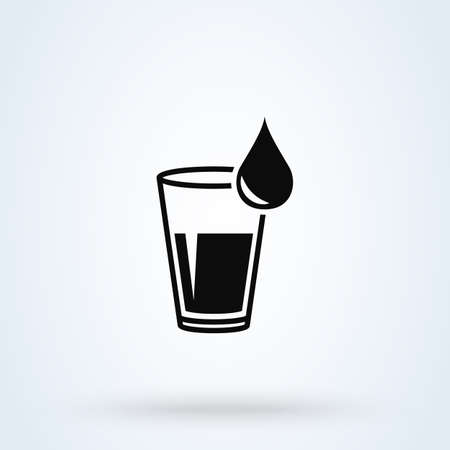 cup and water drop. Simple vector modern icon design illustration.