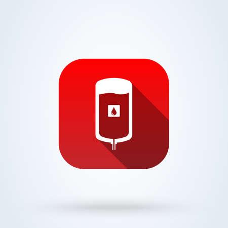 iv blood bag. Simple vector modern icon design illustration.