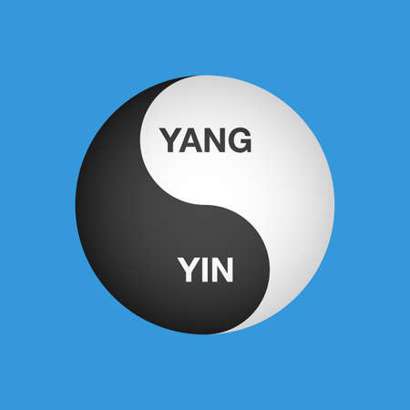 Ying yang text symbol of harmony and balance vector Stock Illustratie