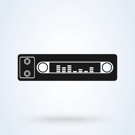 Car radio. Single flat icon on white background. Vector illustration