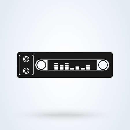 Car radio. Single flat icon on white background. Vector illustration