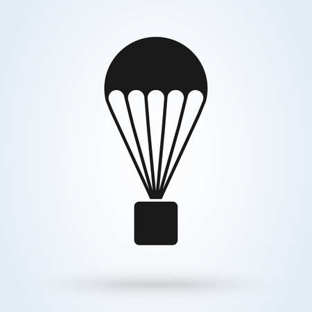 Box flying on parachute vector. icon isolated background Ilustração