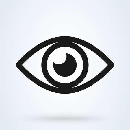 Símbolo de vector de icono de ojo. Estilo de diseño plano