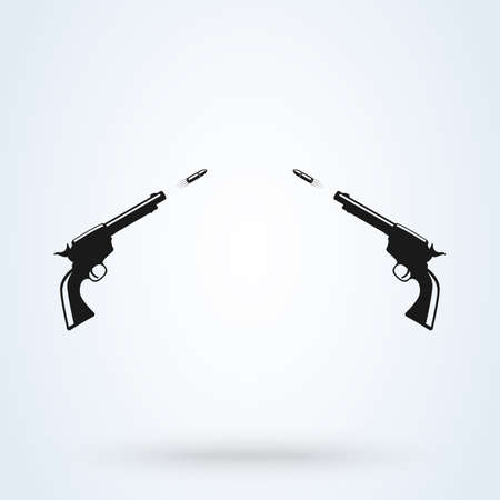 Pistol shooting. Flying Bullets. Vector Weapon shot Illustration
