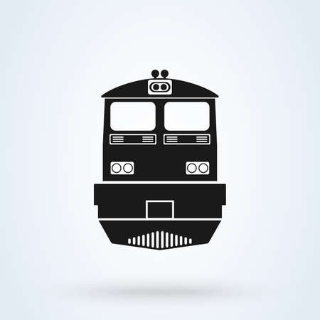 The train icon. Railway symbol. Flat Vector illustration