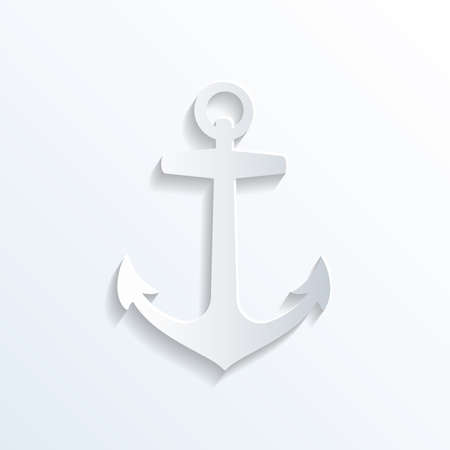 Anchor icon silhouette vector illustration. Paper style