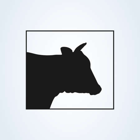 Cow silhouette head icon. isolated on white background