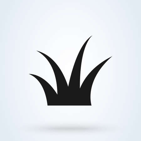 grass icon in a flat design in black color. Vector illustration