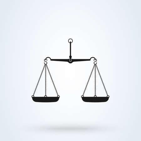 Vector scales Icon, isolated on white bacground. Scales of Justice Illustration