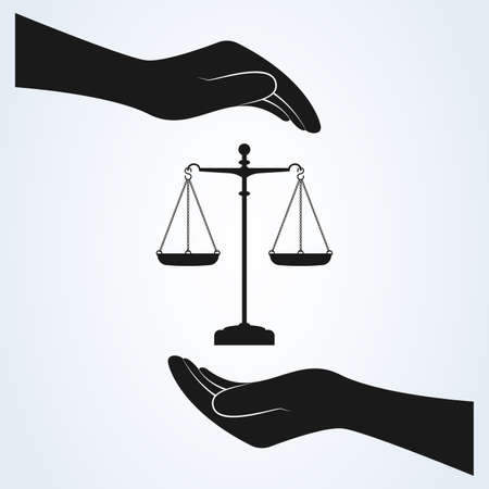 Hand and Scale of Justice Icon Vector. isolated background