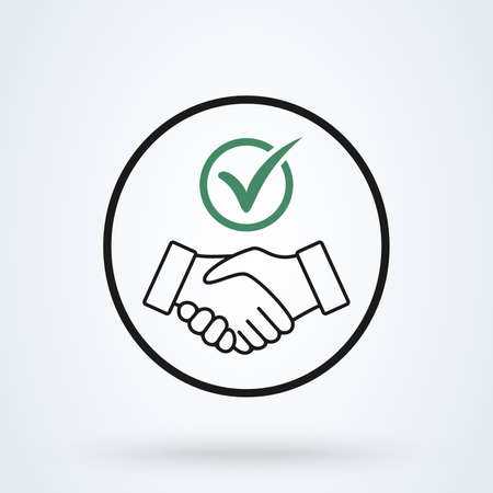 Commitment thin line icon. Handshake Shield Check Mark Icon Vector. Trust Commitment Business Illustration Ilustração Vetorial